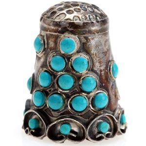 Vintage Silver Thimble with Turquoise